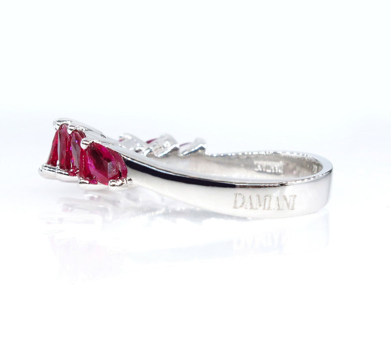 DAMIANI 2.0ct Red RUBY Marquise Estate Wedding ANNIVERSARY 18k White Gold Band Ring | Treasurly by Dima - Exquisite Diamonds and Fine Quality Antique, Vintage, and Estate Jewelry