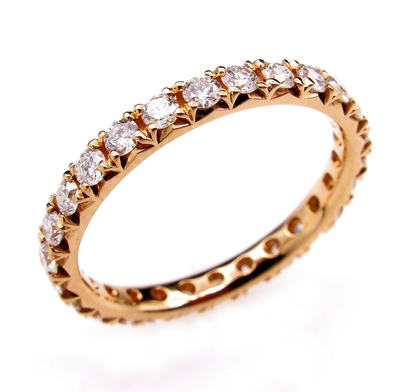 Diamond Wedding Band 0.95 Round Brilliant Diamonds Eternityl 14k Rose Gold Ring Stackable | Treasurly by Dima - Exquisite Diamonds and Fine Quality Antique, Vintage, and Estate Jewelry
