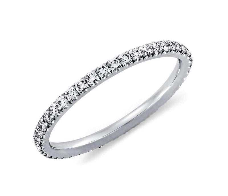 Diamond Wedding Band .40ct Round Diamonds Pave Eternity Platinum Ring Wedding Anniversary Band | Treasurly by Dima - Exquisite Diamonds and Fine Quality Antique, Vintage, and Estate Jewelry
