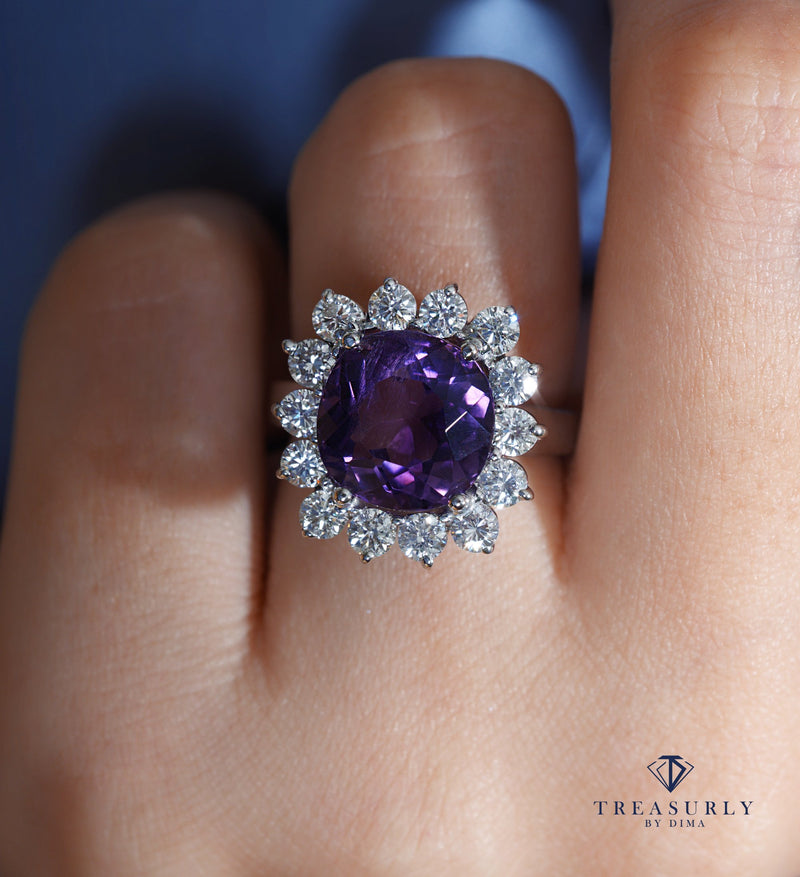 Estate 8.18ct Deep Purple Natural Amethyst Diamond Cluster Vintage Ring | Treasurly by Dima - Exquisite Diamonds and Fine Quality Antique, Vintage, and Estate Jewelry