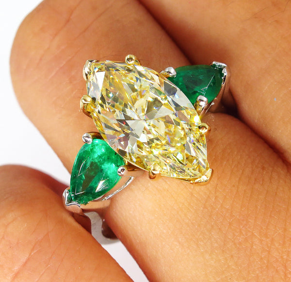 "Estate ""Canary"" 4.86ctw Natural Fancy YELLOW Marquise Diamond & Green Emerald Ring 