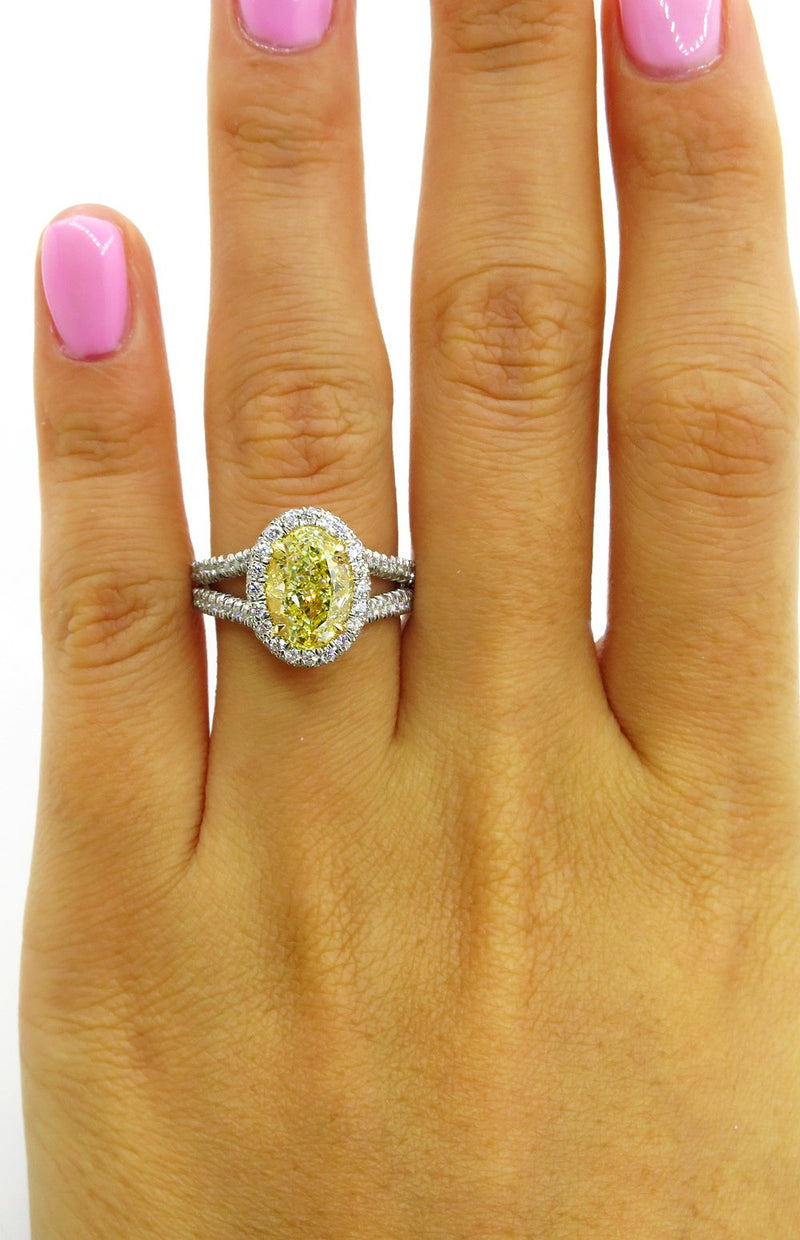 "Estate ""Canary"" GIA 3.24ct Natural Fancy YELLOW VS1 Oval Diamond Wedding Platinum Halo Ring 