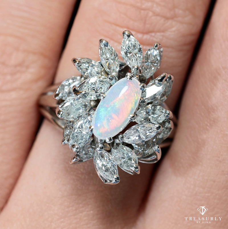 Estate Vintage 3.47ct Australian Opal and Diamond Cluster Cocktail Ballerina Platinum Ring | Treasurly by Dima - Exquisite Diamonds and Fine Quality Antique, Vintage, and Estate Jewelry