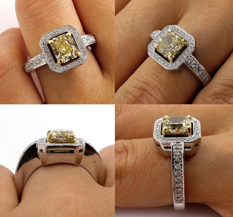 Fine GIA 2.0ctw Estate Vintage Natural Fancy Yellow Radiant Diamond Engagement Wedding 18K Ring | Treasurly by Dima - Exquisite Diamonds and Fine Quality Antique, Vintage, and Estate Jewelry