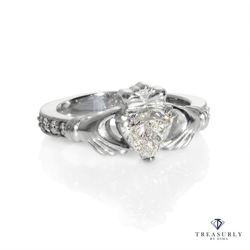 GIA 1.10ct Heart Diamond Irish Claddagh Engagement Wedding Platinum Ring | Treasurly by Dima - Exquisite Diamonds and Fine Quality Antique, Vintage, and Estate Jewelry