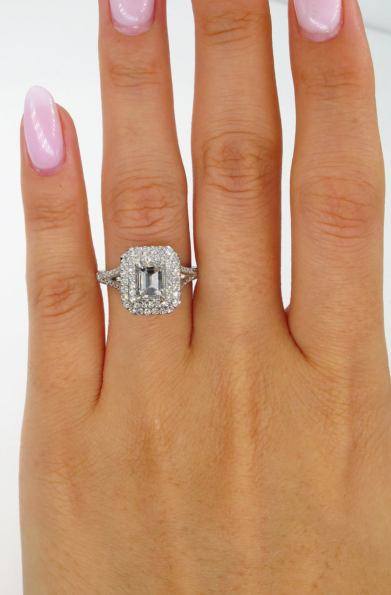 GIA 1.76ct Estate EMERALD cut Diamond Solitaire Engagement Pave Halo Platinum Ring | Treasurly by Dima - Exquisite Diamonds and Fine Quality Antique, Vintage, and Estate Jewelry