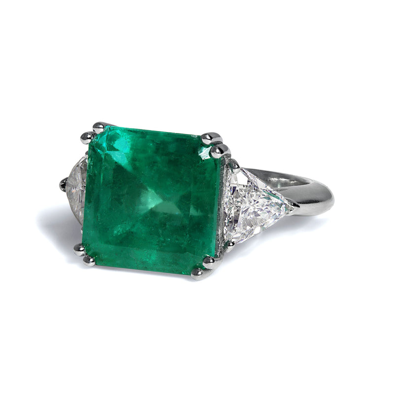 GIA 10.64ct Columbian Green Square Emerald and Diamond 3 stone Ring | Treasurly by Dima - Exquisite Diamonds and Fine Quality Antique, Vintage, and Estate Jewelry