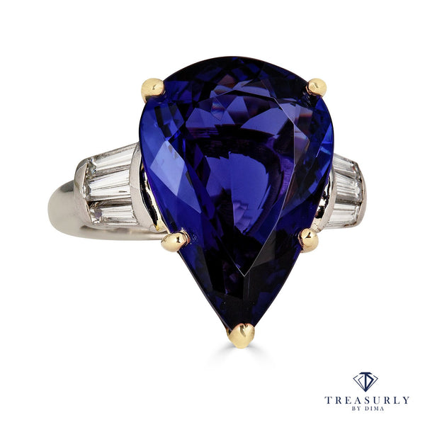 GIA 12.01ct Pear TANZANITE Deep AAA Blue Violet Diamond Platinum Ring | Treasurly by Dima - Exquisite Diamonds and Fine Quality Antique, Vintage, and Estate Jewelry