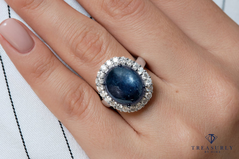 GIA 15.27ct Vintage Estate Blue Cabochon Sapphire Diamonds Cluster Dinner Ring | Treasurly by Dima - Exquisite Diamonds and Fine Quality Antique, Vintage, and Estate Jewelry