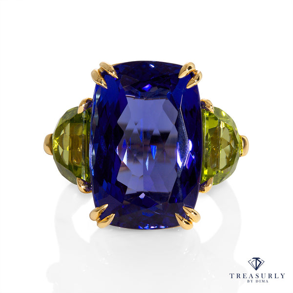 GIA 17.23ct Deep Blue Violet Cushion TANZANITE Peridot and Diamond Trilogy Ring | Treasurly by Dima - Exquisite Diamonds and Fine Quality Antique, Vintage, and Estate Jewelry