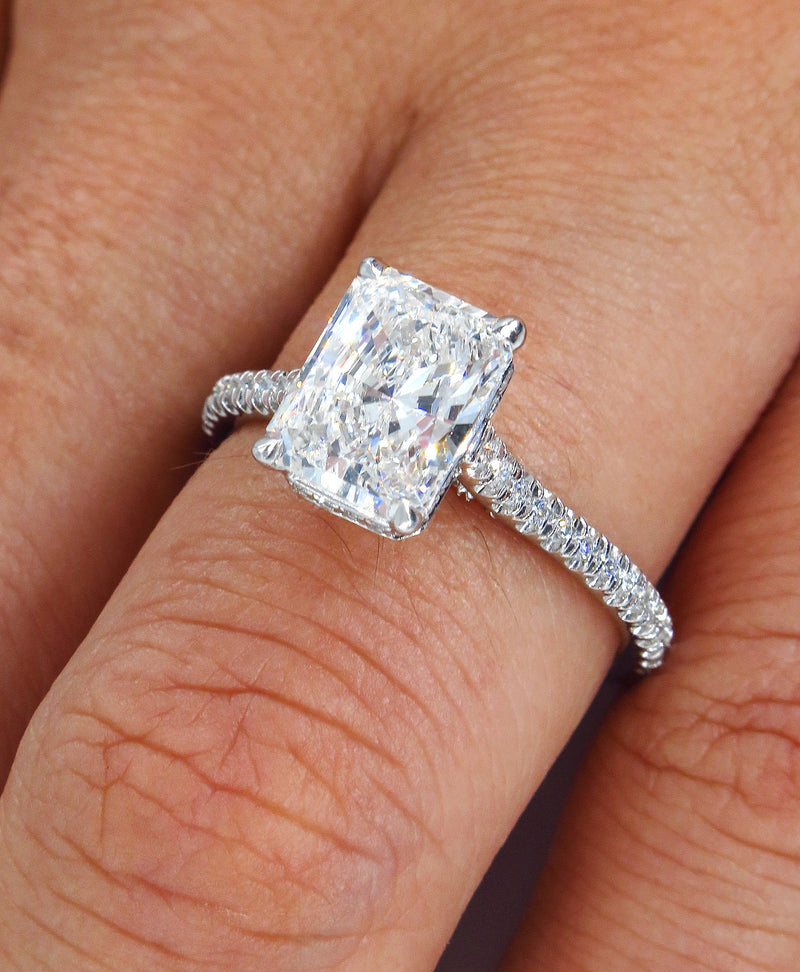 GIA 2.01ctw I VS1 RADIANT Cut Diamond Pave Solitaire Platinum Engagement Wedding Ring | Treasurly by Dima - Exquisite Diamonds and Fine Quality Antique, Vintage, and Estate Jewelry