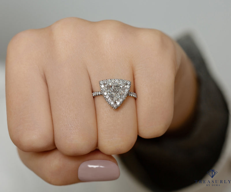 GIA 2.06ctw Trillion Diamond Engagement Double Edge Halo Pave Platinum Ring | Treasurly by Dima - Exquisite Diamonds and Fine Quality Antique, Vintage, and Estate Jewelry