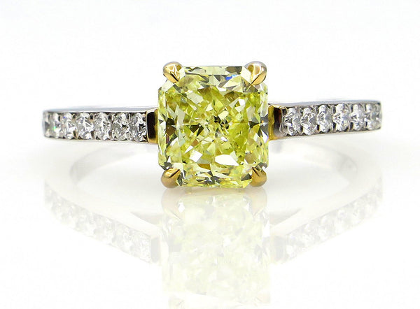 GIA 2.0ctw Estate Natural Fancy Yellow RADIANT Cut Diamond Solitaire Engagement Platinum Ring | Treasurly by Dima - Exquisite Diamonds and Fine Quality Antique, Vintage, and Estate Jewelry