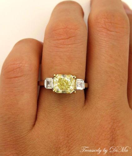 GIA 2.52CT ESTATE FANCY YELLOW RADIANT DIAMOND ENGAGEMENT WEDDING RING 3 STONE | Treasurly by Dima - Exquisite Diamonds and Fine Quality Antique, Vintage, and Estate Jewelry