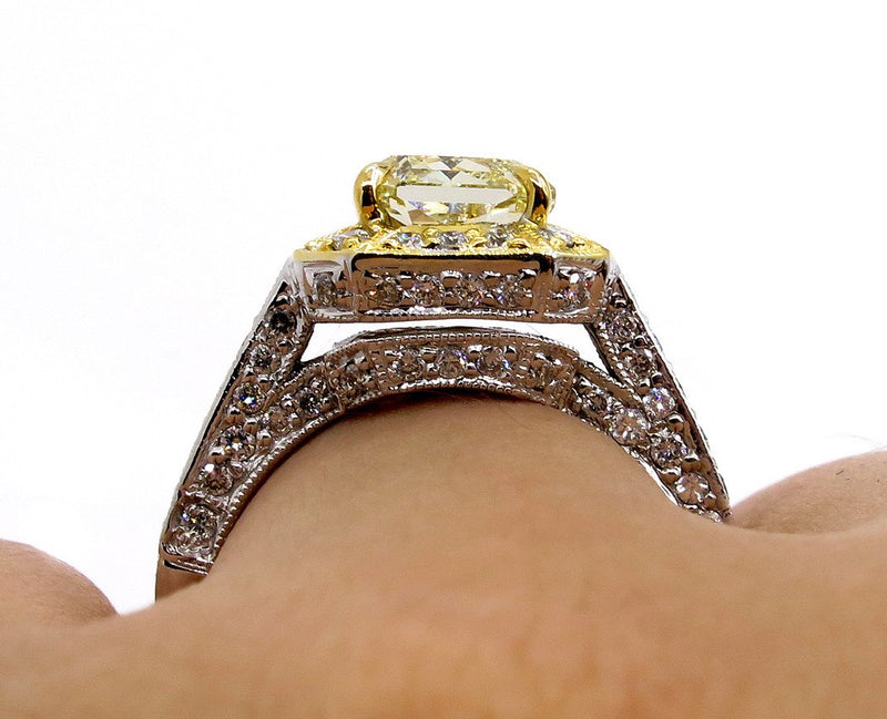 GIA 2.74ctw Estate Vintage Natural Fancy Yellow Radiant Diamond Engagement Wedding Ring | Treasurly by Dima - Exquisite Diamonds and Fine Quality Antique, Vintage, and Estate Jewelry
