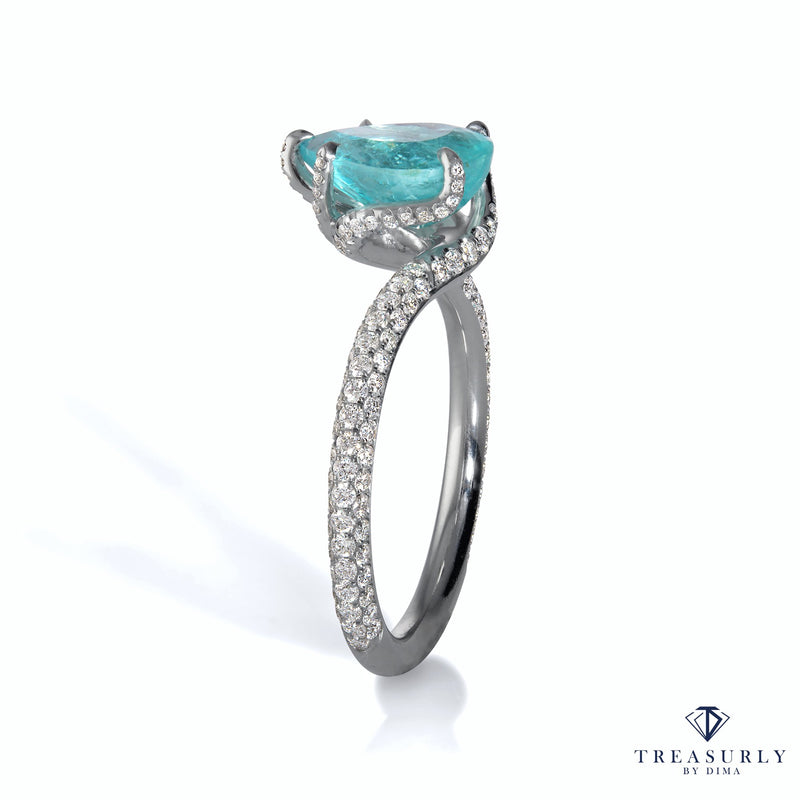 "GIA 2.84ct Natural PARAIBA TOURMALINE Pear Shape Diamond Platinum ""Dalinda"" Ring 