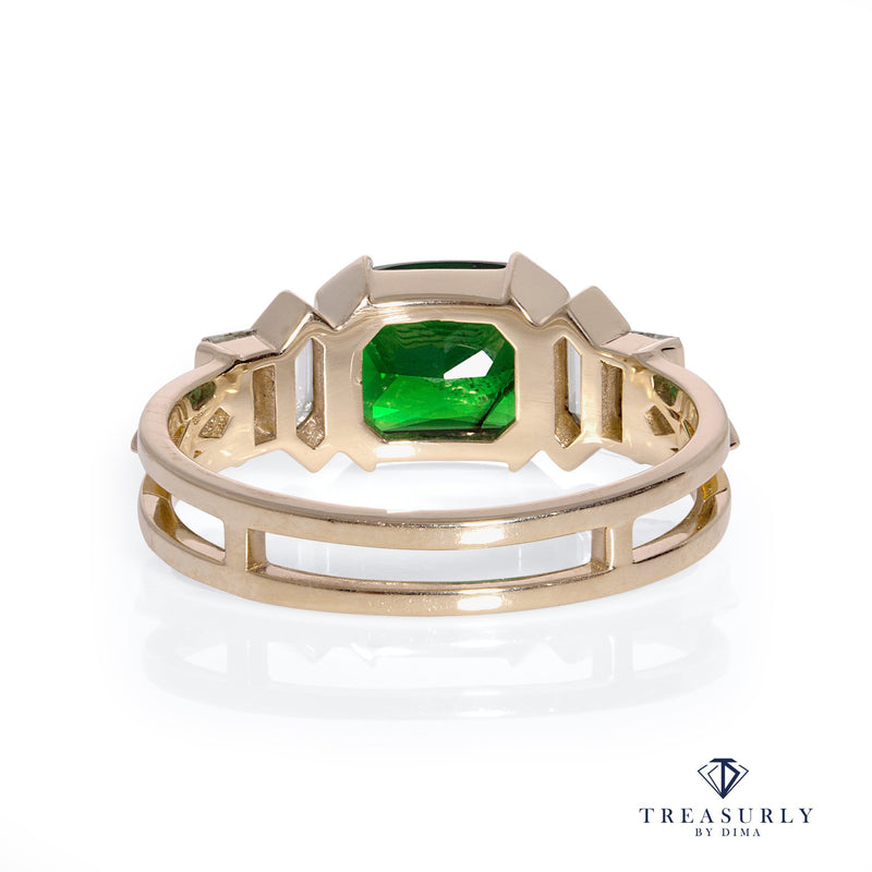 GIA 3.01ctw Natural TSAVORITE Cushion & Diamond 14k Gold Ring | Treasurly by Dima - Exquisite Diamonds and Fine Quality Antique, Vintage, and Estate Jewelry