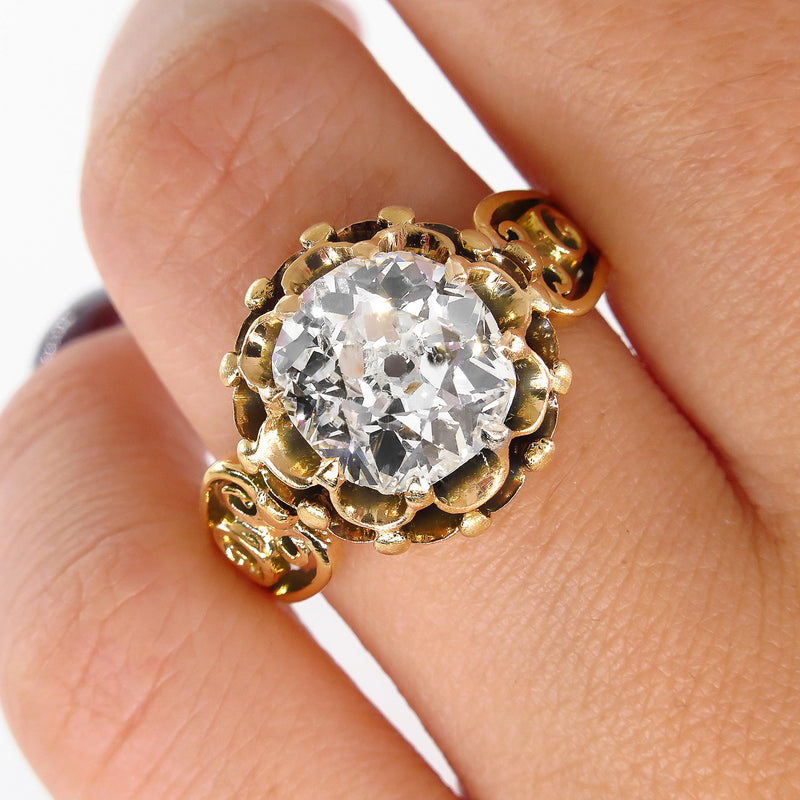 GIA 3.14ct Victorian Old Mine Solitaire Diamond Engagement Wedding Antique Ring | Treasurly by Dima - Exquisite Diamonds and Fine Quality Antique, Vintage, and Estate Jewelry