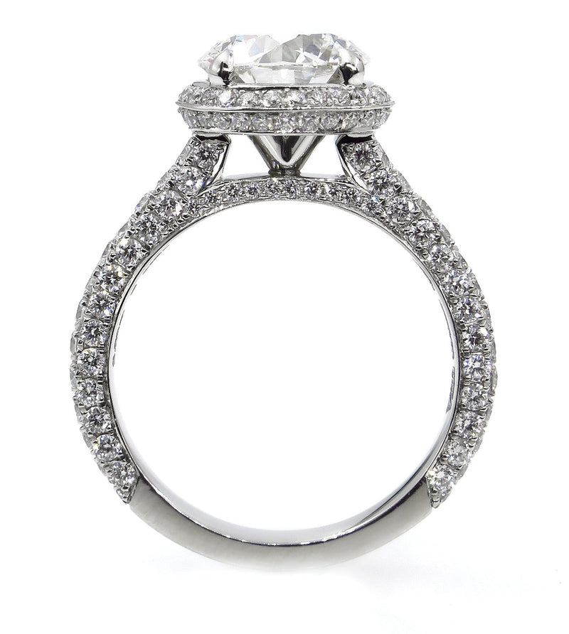GIA 3.46ct Round Brilliant Cut Diamond Solitaire Engagement Diamond Halo Platinum Ring | Treasurly by Dima - Exquisite Diamonds and Fine Quality Antique, Vintage, and Estate Jewelry