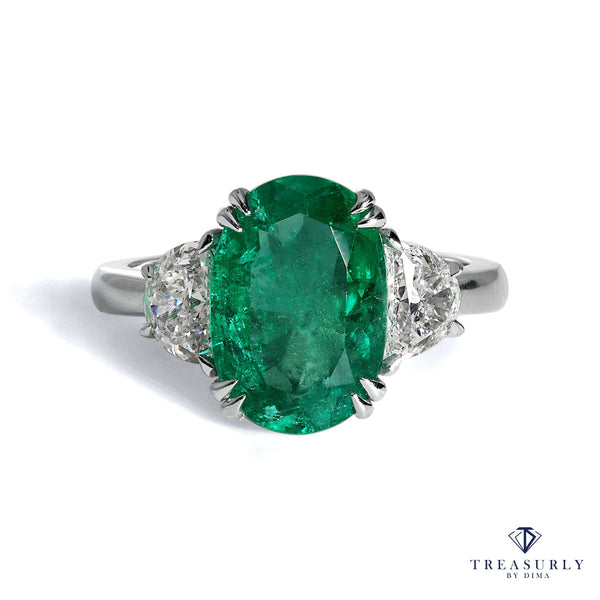 GIA 4.14ct Columbian Green Oval Emerald Diamond 3 stone Ring | Treasurly by Dima - Exquisite Diamonds and Fine Quality Antique, Vintage, and Estate Jewelry