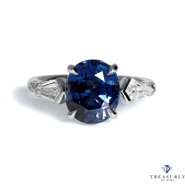 GIA 5.04ctw Natural NO-HEAT Blue Sapphire and Diamond Platinum 3 Stone Ring | Treasurly by Dima - Exquisite Diamonds and Fine Quality Antique, Vintage, and Estate Jewelry