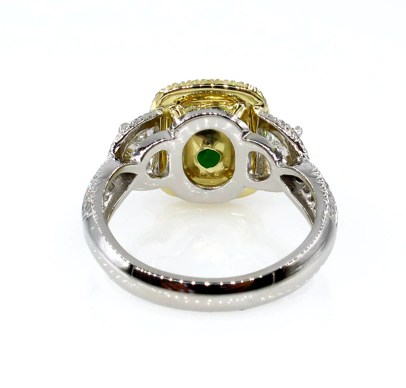 GIA 5.25ctw Natural TSAVORITE Cushion 3 Stone Fancy Yellow Diamond Halo Ring | Treasurly by Dima - Exquisite Diamonds and Fine Quality Antique, Vintage, and Estate Jewelry