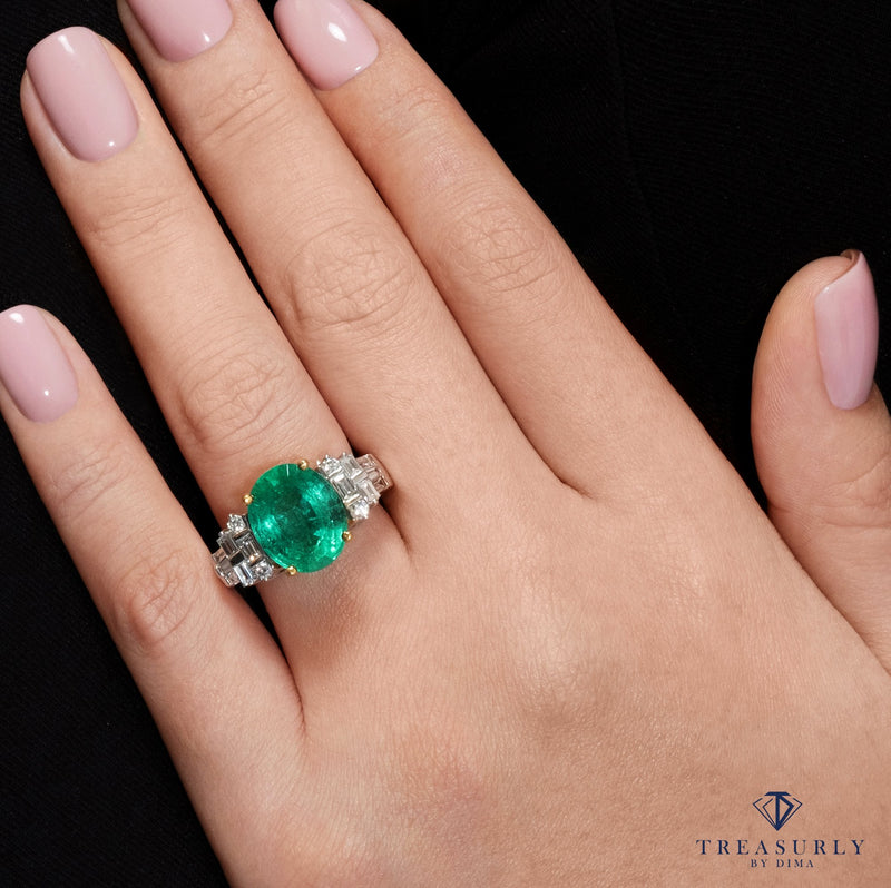 GIA 6.30ct Estate Green Oval Emerald Diamond Engagement 18k Gold Ring | Treasurly by Dima - Exquisite Diamonds and Fine Quality Antique, Vintage, and Estate Jewelry