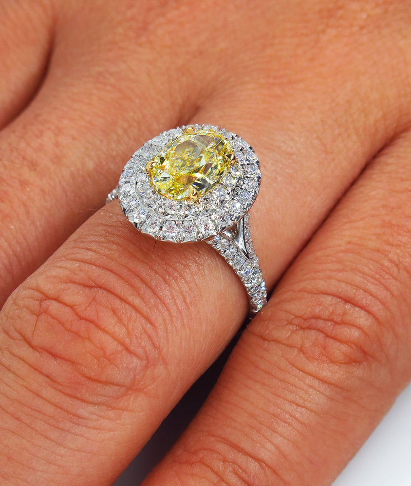"GIA ""Canary"" 2.33ct Natural Fancy YELLOW VVS1 Oval Diamond Wedding Platinum Halo Ring 