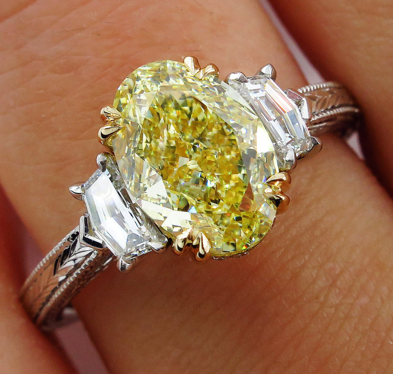"GIA ""Canary"" 3.01ct Natural Fancy YELLOW VVS1 Oval 3 Stone Diamond Engagement Platinum Ring 