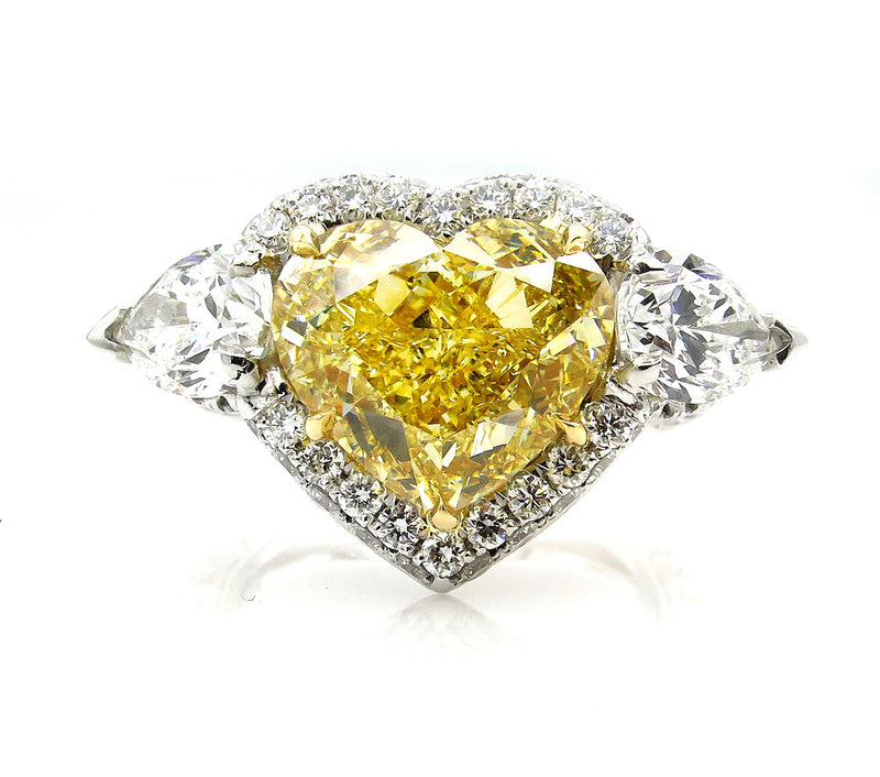 "GIA ""Canary"" 6.16ctw Natural Fancy YELLOW HEART & Pear Shaped Diamond 3 Stone Halo Pave Ring 