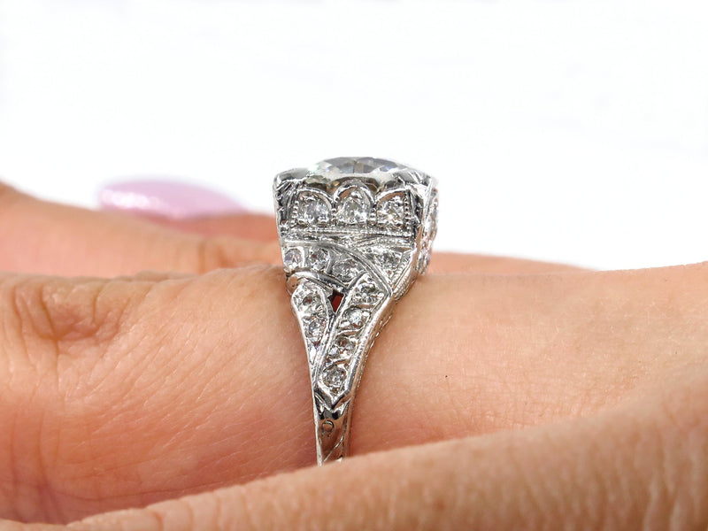 GIA Edwardian Deco 3.14ct Antique OLD EUROPEAN Diamond Platinum Engagement Ring | Treasurly by Dima - Exquisite Diamonds and Fine Quality Antique, Vintage, and Estate Jewelry