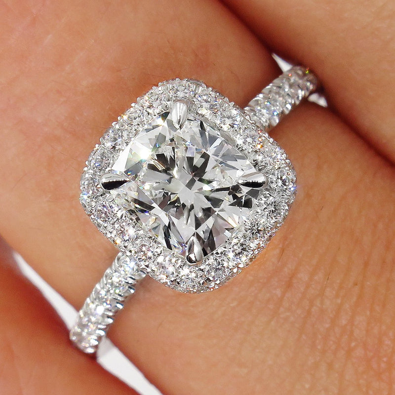 GIA F-VS1 2.0ctw Vintage CUSHION Brilliant Cut Diamond Solitaire Engagement Platinum Ring | Treasurly by Dima - Exquisite Diamonds and Fine Quality Antique, Vintage, and Estate Jewelry