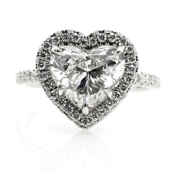 GIA G-VS2 3.0ctw HEART Shaped Diamond Halo Estate Vintage Engagement Platinum Ring | Treasurly by Dima - Exquisite Diamonds and Fine Quality Antique, Vintage, and Estate Jewelry
