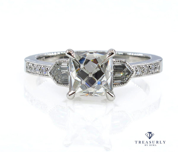 GIA H-VS1 2.07ct Vintage French Cut Diamond Art Deco Style Trilogy Engagement Ring | Treasurly by Dima - Exquisite Diamonds and Fine Quality Antique, Vintage, and Estate Jewelry