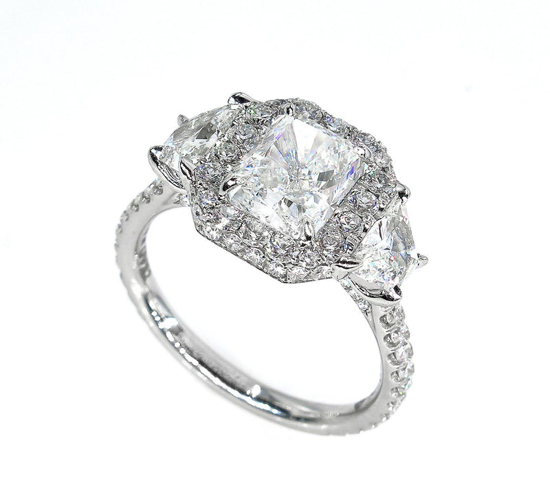 GIA H-VS2 3.33ctw RADIANT Cut Diamond Engagement 3 Stone Halo Platinum Ring | Treasurly by Dima - Exquisite Diamonds and Fine Quality Antique, Vintage, and Estate Jewelry