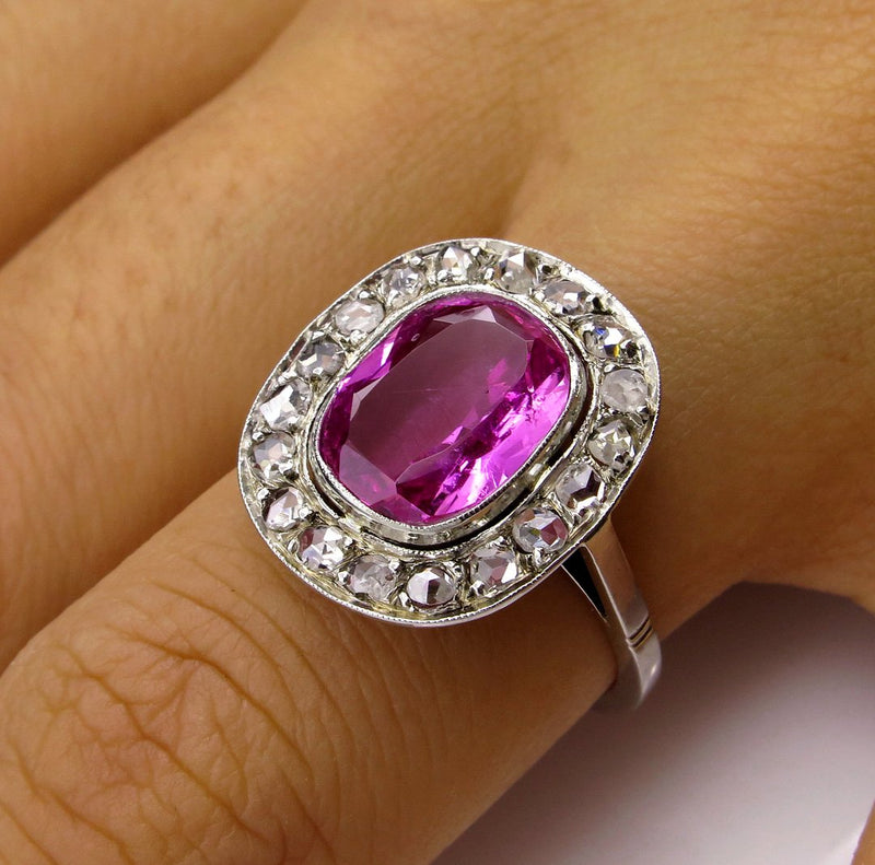 "GIA Natural ""NO HEAT"" 3.68ct Hot Vivid Pink Sapphire Diamond 18k Art Deco Edwardian Ring 