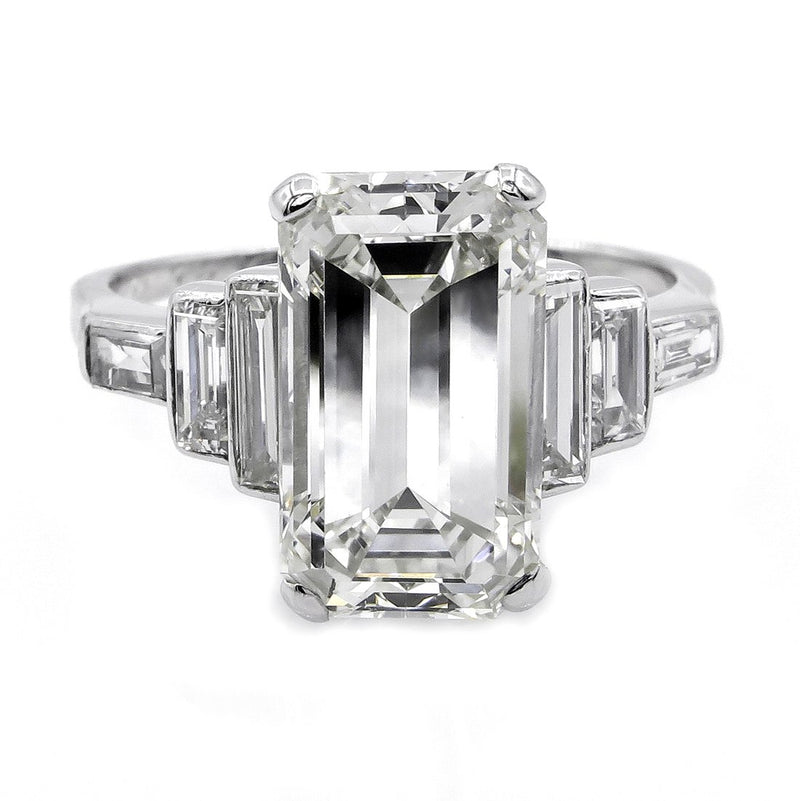 Impressive Art Deco GIA 4.37ct Emerald Cut Diamond Vintage Engagement Wedding Platinum Ring | Treasurly by Dima - Exquisite Diamonds and Fine Quality Antique, Vintage, and Estate Jewelry