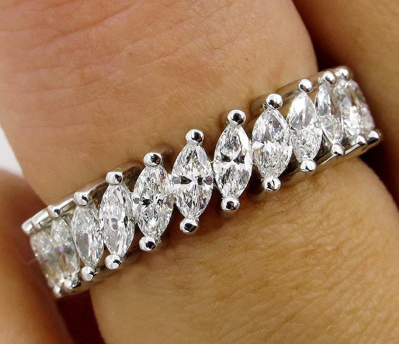 Mid-Century 2.0ct Marquise Diamond Eternity Vintage WEDDING ANNIVERSARY 14K W Gold Band Ring | Treasurly by Dima - Exquisite Diamonds and Fine Quality Antique, Vintage, and Estate Jewelry