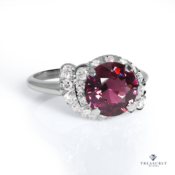 Mid-Century GIA 3.50ct Natural No-Heat Purple SPINEL and Diamond Platinum Vintage Ring | Treasurly by Dima - Exquisite Diamonds and Fine Quality Antique, Vintage, and Estate Jewelry