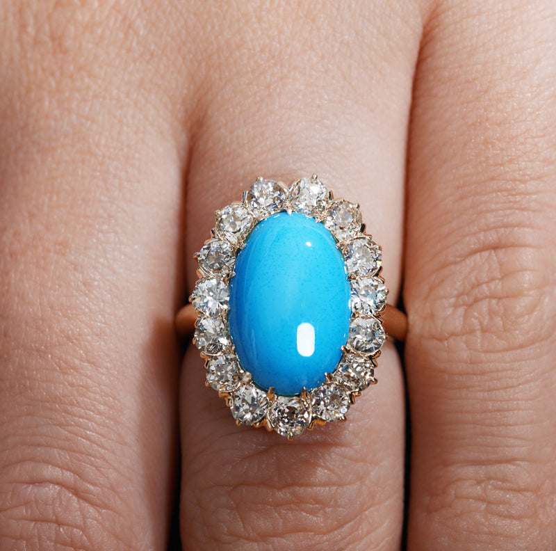 Original 7.58ct Authentic Antique Victorian Turquoise Diamond Cluster Cocktail Ring | Treasurly by Dima - Exquisite Diamonds and Fine Quality Antique, Vintage, and Estate Jewelry