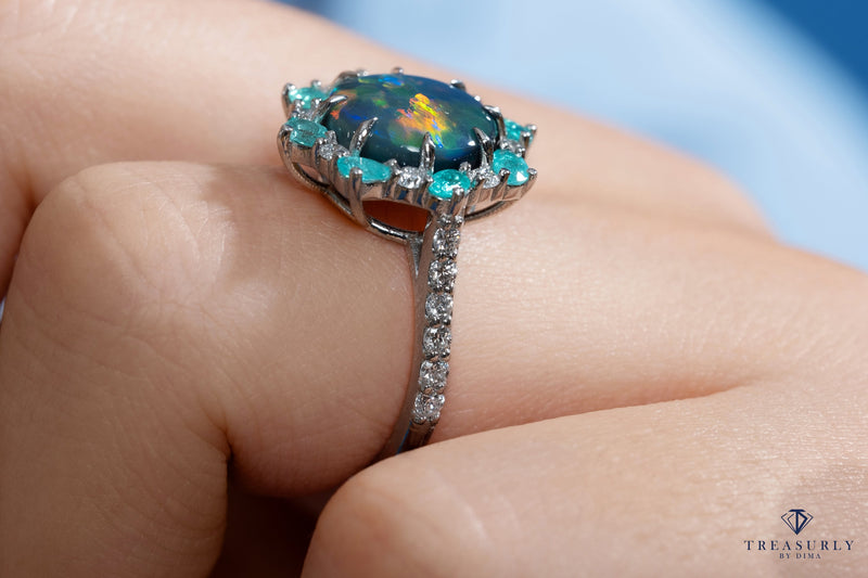 Rare 3.68ctct Australian Black OPAL PARAIBA Tourmaline DIAMOND Cluster Platinum Ring | Treasurly by Dima - Exquisite Diamonds and Fine Quality Antique, Vintage, and Estate Jewelry