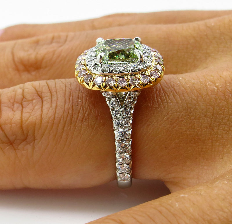 Rare GIA 2.55ctw Fancy INTENSE GREEN Cushion Cut Diamond Engagement Platinum Ring | Treasurly by Dima - Exquisite Diamonds and Fine Quality Antique, Vintage, and Estate Jewelry
