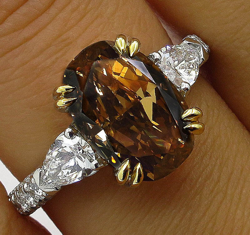 Rare GIA 4.85ctw Natural Fancy Deep Brown ORANGE OVAL Cut Diamond Three Stone Platinum 18K Ring | Treasurly by Dima - Exquisite Diamonds and Fine Quality Antique, Vintage, and Estate Jewelry