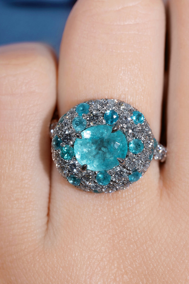 Rare GIA 5ctw Natural PARAIBA Tourmaline & Diamond Platinum Ring | Treasurly by Dima - Exquisite Diamonds and Fine Quality Antique, Vintage, and Estate Jewelry
