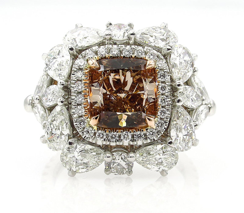 Spectacular GIA 6.0ctw Natural Fancy ORANGE BROWN Cushion Cut Diamond Diamond Platinum Ring | Treasurly by Dima - Exquisite Diamonds and Fine Quality Antique, Vintage, and Estate Jewelry
