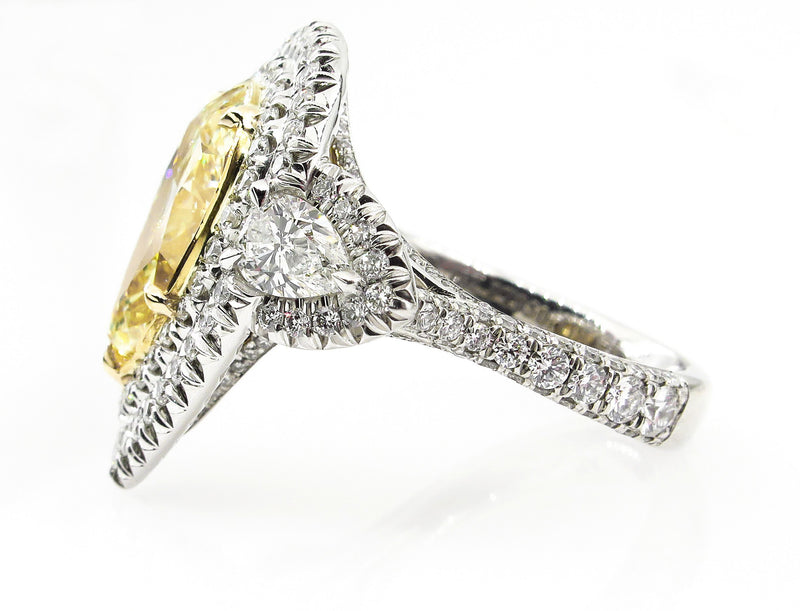 Spectacular GIA 7.66ctw Fancy YELLOW PEAR Shaped Diamond Engagement Platinum 22K Ring | Treasurly by Dima - Exquisite Diamonds and Fine Quality Antique, Vintage, and Estate Jewelry