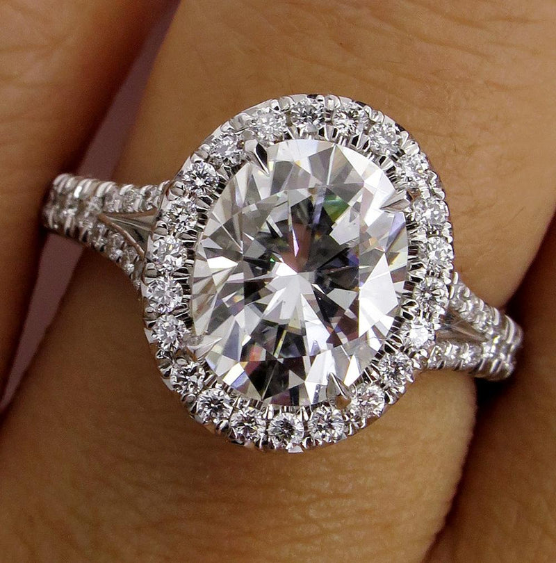Supernova Moissanite 7x9mm Oval Cut Center 1.0ct Natural Diamond Halo 14k White Gold Engagement Ring | Treasurly by Dima - Exquisite Diamonds and Fine Quality Antique, Vintage, and Estate Jewelry