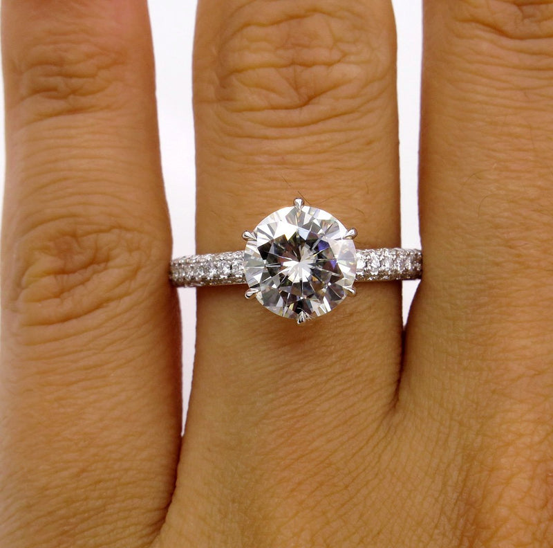 Supernova Moissanite 8.5mm ROUND Cut Center & Natural Pave Diamond Platinum Engagement Ring | Treasurly by Dima - Exquisite Diamonds and Fine Quality Antique, Vintage, and Estate Jewelry