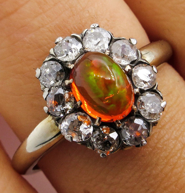 Victorian 2.45ct Antique Vintage FIRE OPAL and Old European DIAMOND Cocktail Cluster Ring | Treasurly by Dima - Exquisite Diamonds and Fine Quality Antique, Vintage, and Estate Jewelry