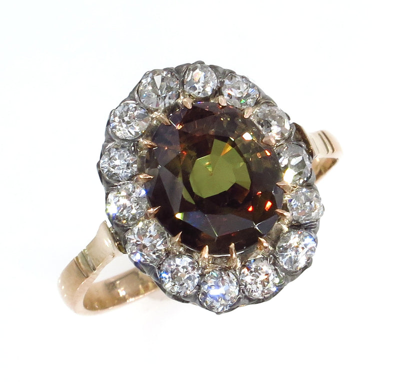 Victorian GIA 4.42ctw Natural ALEXANDRITE & Old Mine Diamonds Antique Cluster Ring | Treasurly by Dima - Exquisite Diamonds and Fine Quality Antique, Vintage, and Estate Jewelry